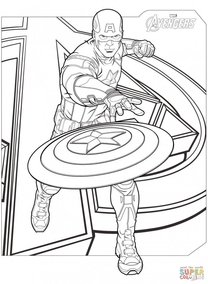 Avengers Coloring Pages Caprtain America   23685