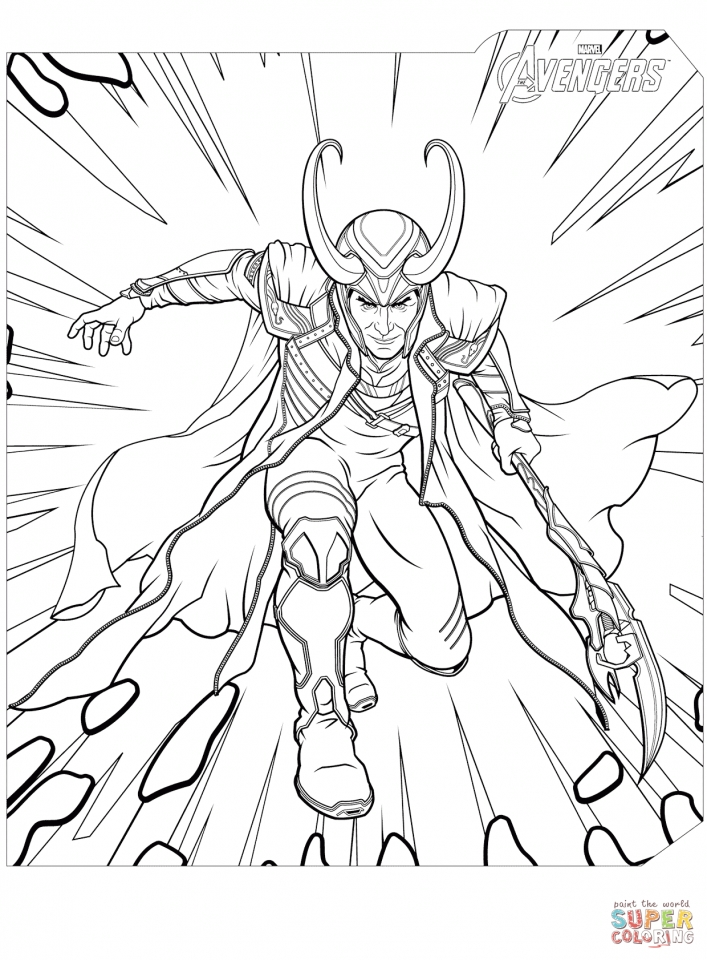 Avengers Coloring Pages Loki the Villain   78532