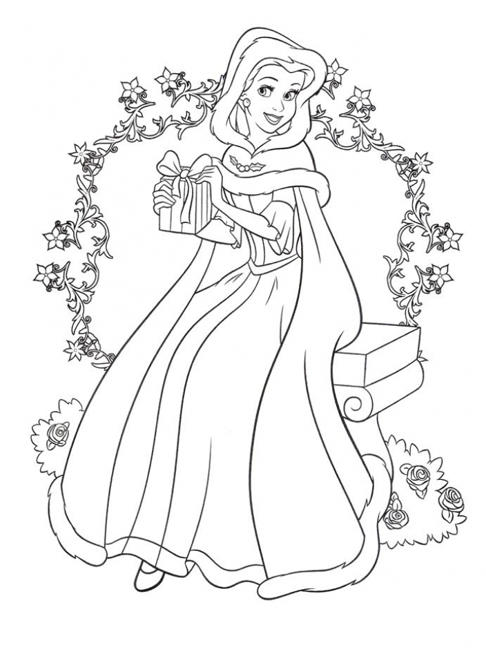 Coloring pages princesses belle for Disney christmas printable coloring pages