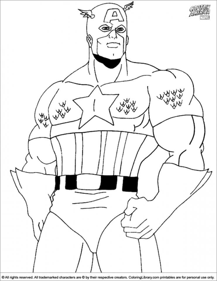 Captain America Coloring Pages Marvel Superhero   36541