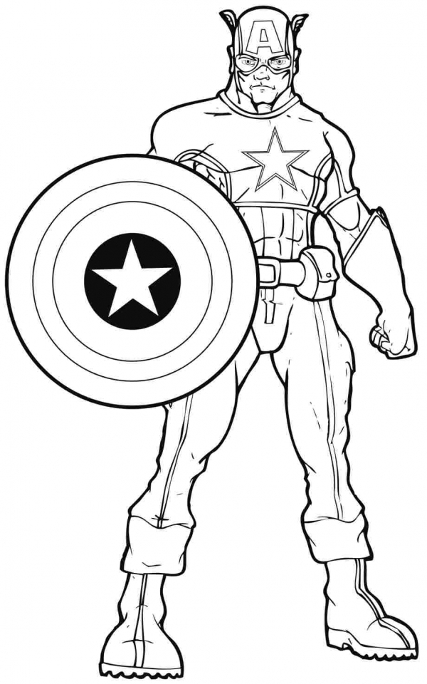 Captain America Coloring Pages Superheroes Printable for Kids   16733