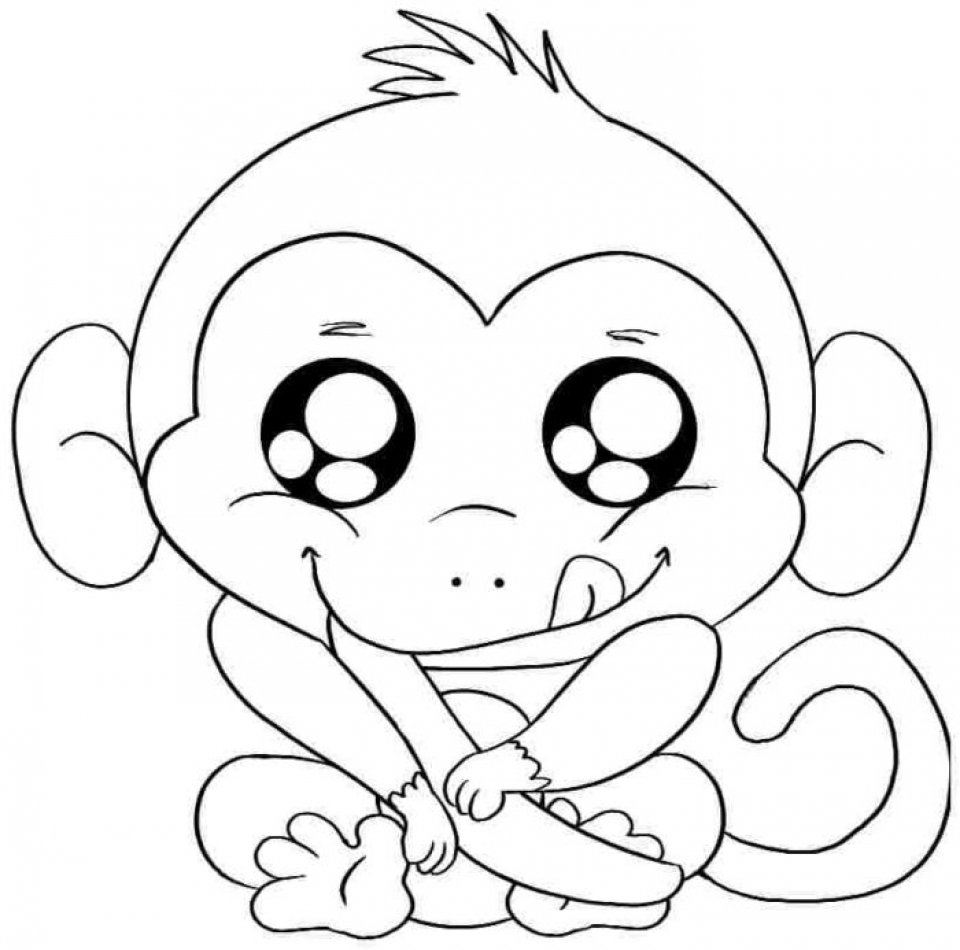 Cartoon Monkey Coloring Pages Cute   20941