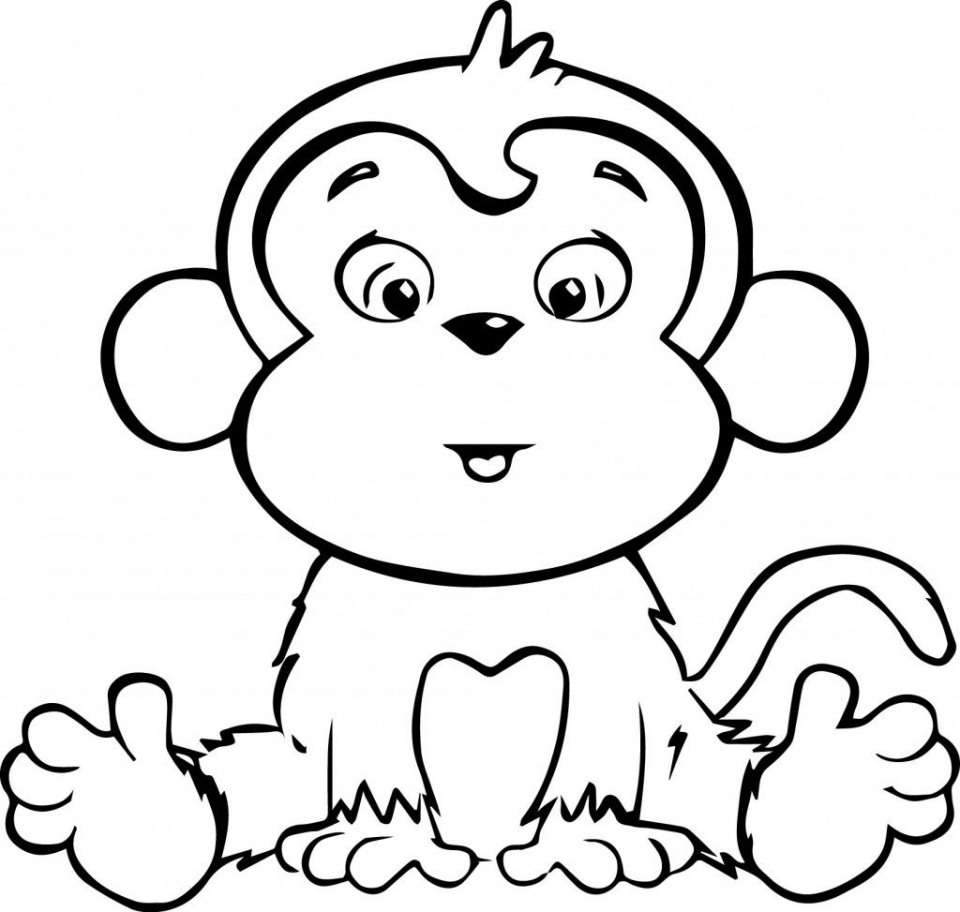 Cute Baby Monkey Coloring Pages Free to Print   49021