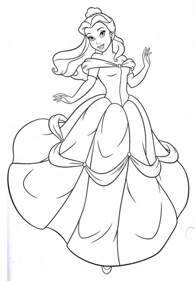 Princess Belle Printable Coloring Pages
