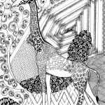 Giraffe Coloring Pages for Adults Zentangle Art   91411
