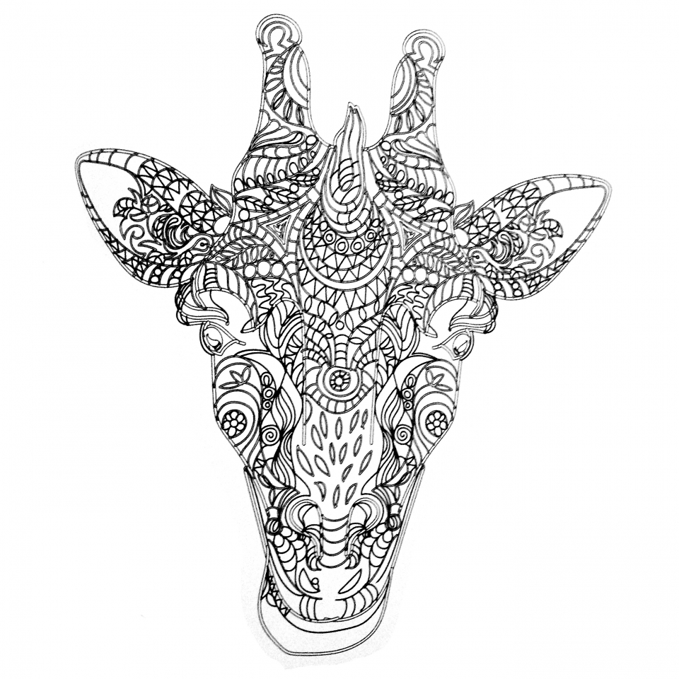 Giraffe Coloring Pages for Adults Zentangle Art   99371