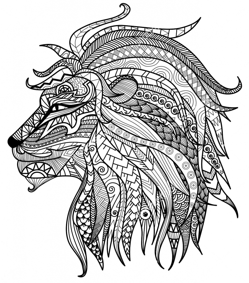 Printable Adult Pages Lion Coloring Pages