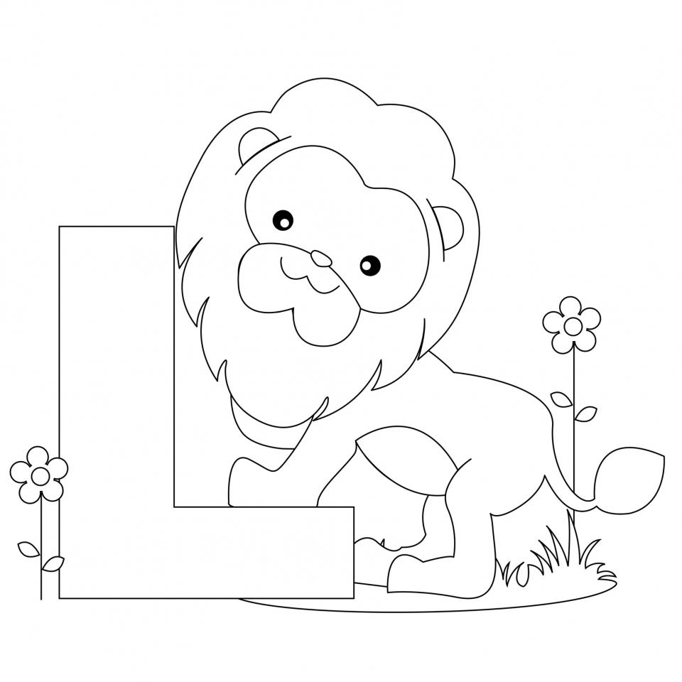 Lion Coloring Pages L Alphabet Free for Kids   64221