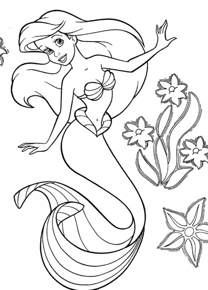 Get this little mermaid coloring pages princess printable for Mermaid coloring pages printable