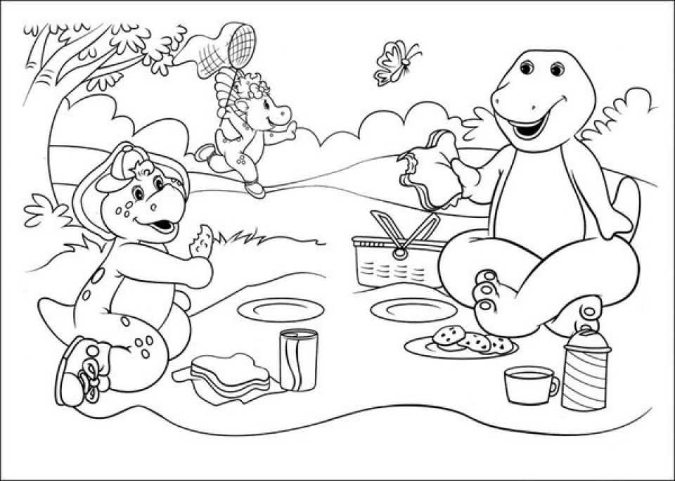 20 free printable barney and friends coloring pages