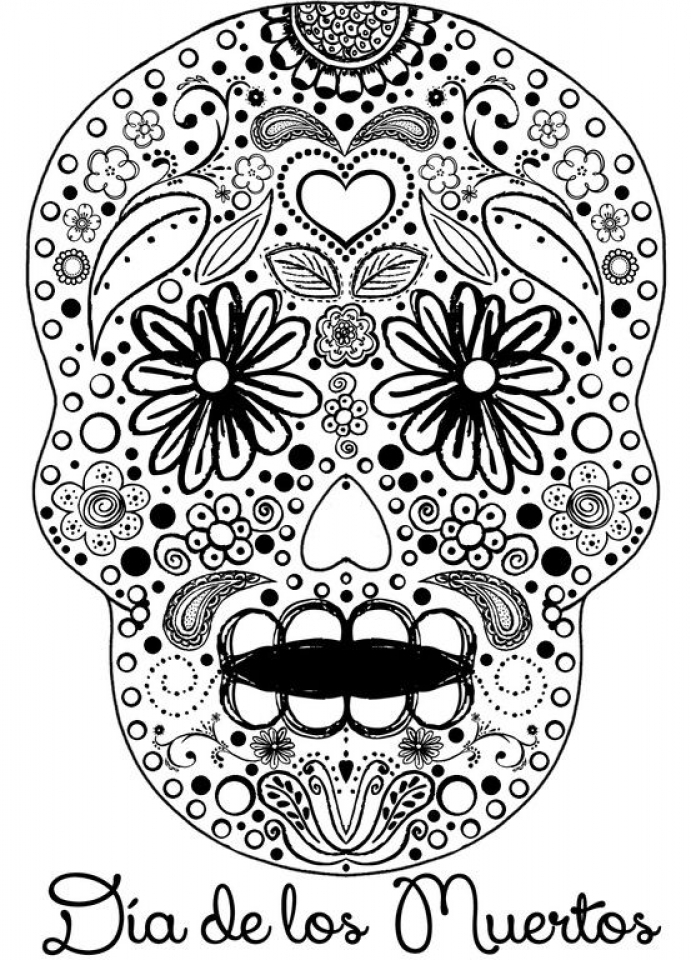 Sugar Skull Coloring Pages Adults Printable   06417