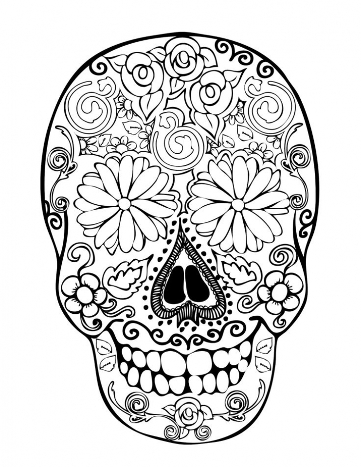 Sugar Skull Coloring Pages to Print for Grown Ups   36373