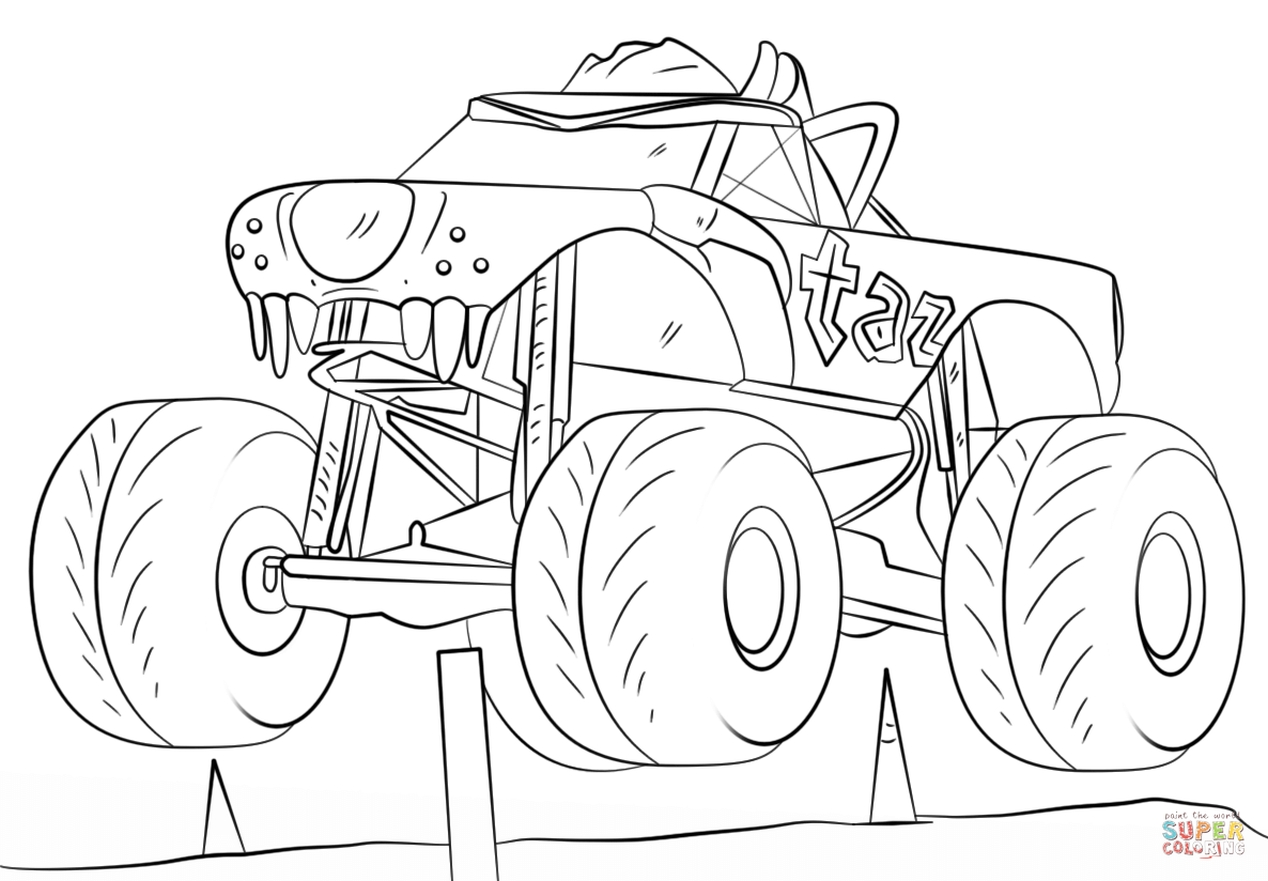 taz monster truck coloring page free printable for kids - 69828