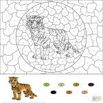 Tiger Coloring Pages Color by Number Printable for Older Kids
