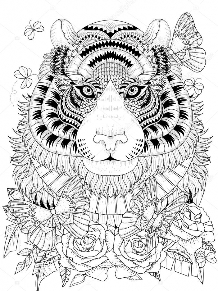 Get This Tiger Coloring Pages Intricate Zentangle Art For