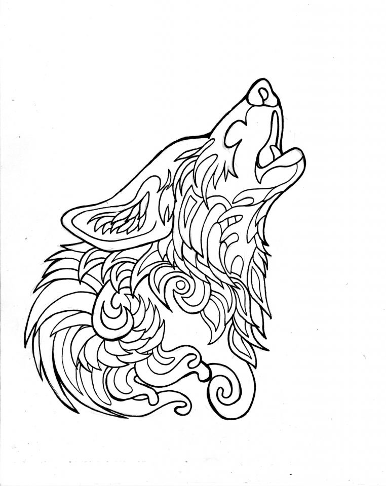 Wolf Coloring Pages for Adults Free Printable   65712