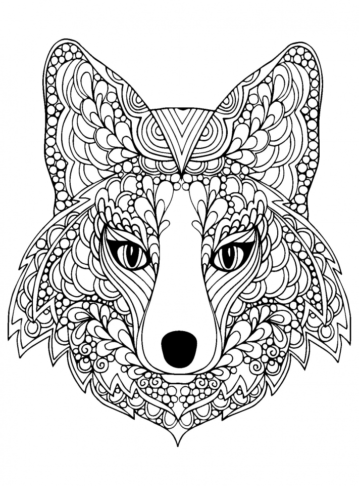 Get Wolf Coloring Pages Adults Printable