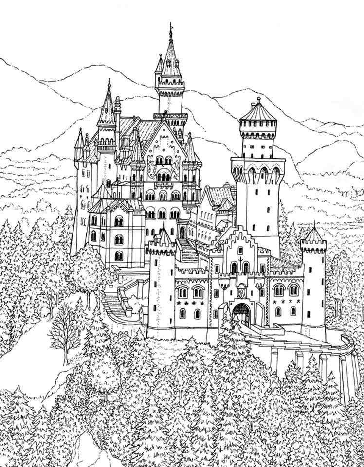 Castle Coloring Pages for Adults - ydg2