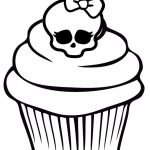 Cupcake Coloring Pages with Monster High Skullette - 8cv41