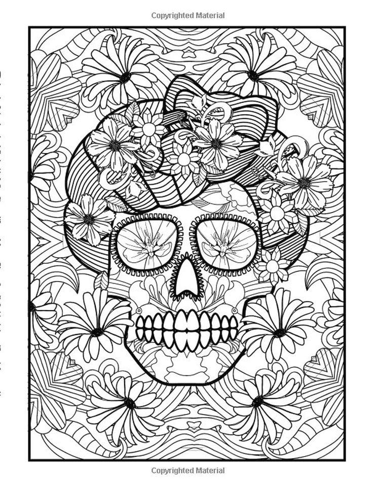 Day of the Dead Coloring Pages - Hard Coloring for Adults - ycv31