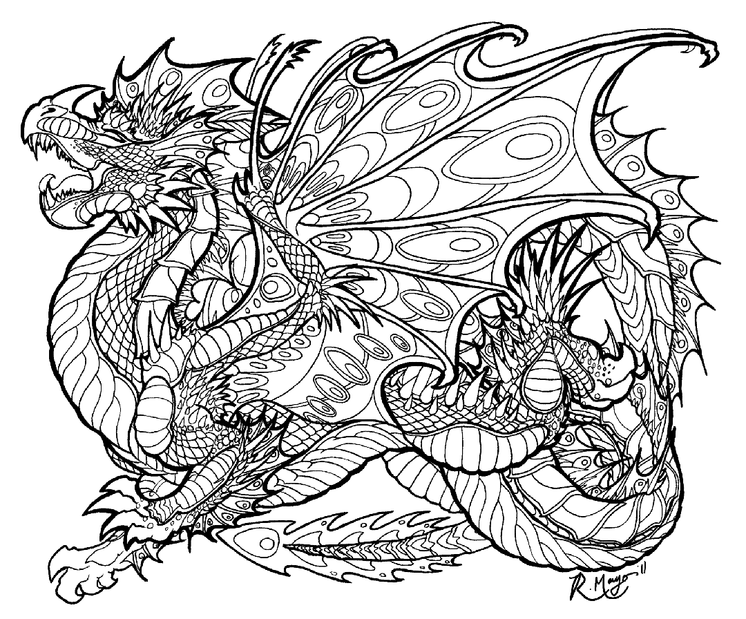 Dragon Coloring Pages for Adults Free - ywa78