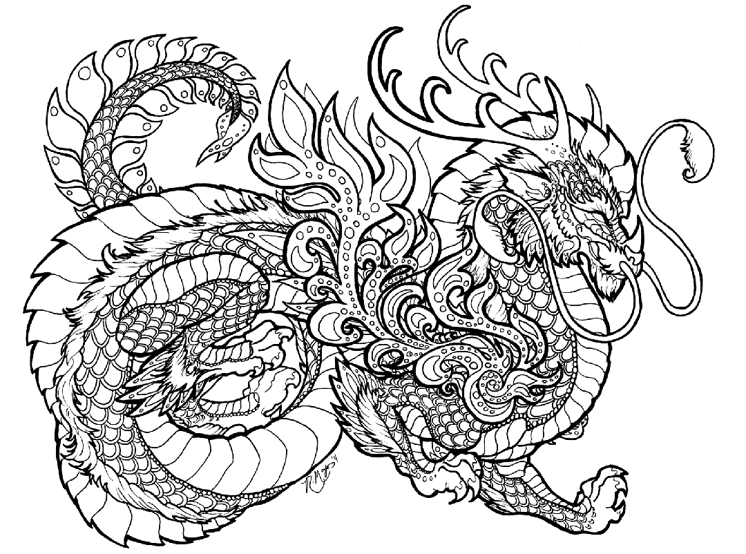 Dragon Coloring Pages for Adults Printable - wuv7q