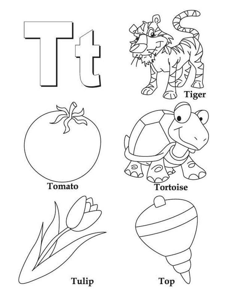 Letter T Coloring Pages - 7t3ml