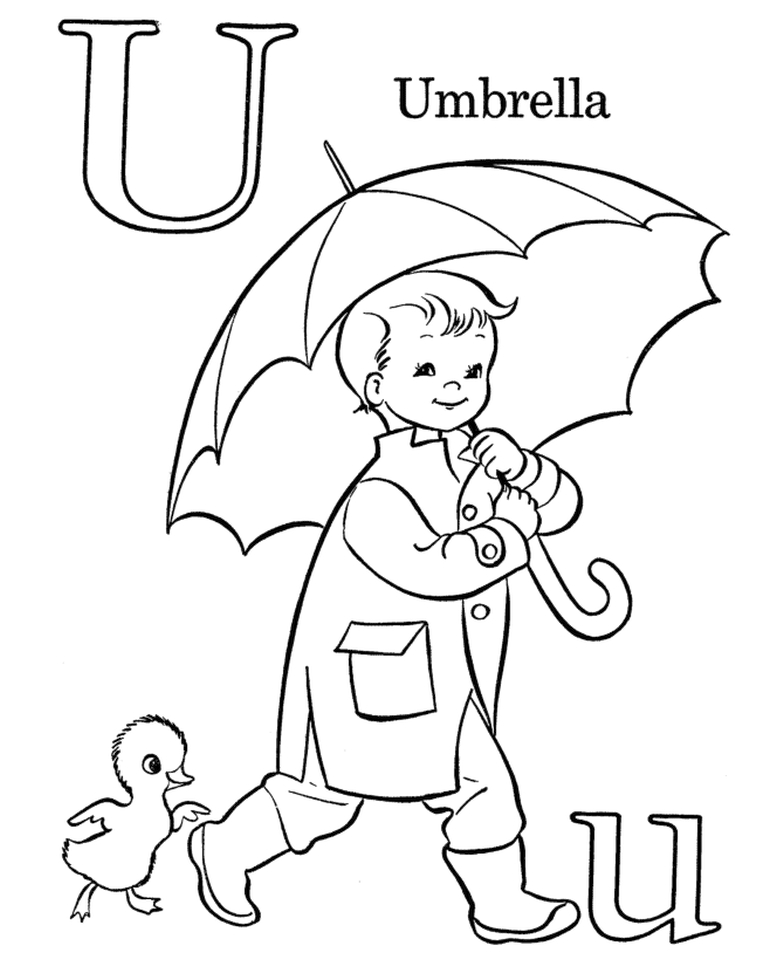 Letter U Coloring Pages Umbrella - u321n