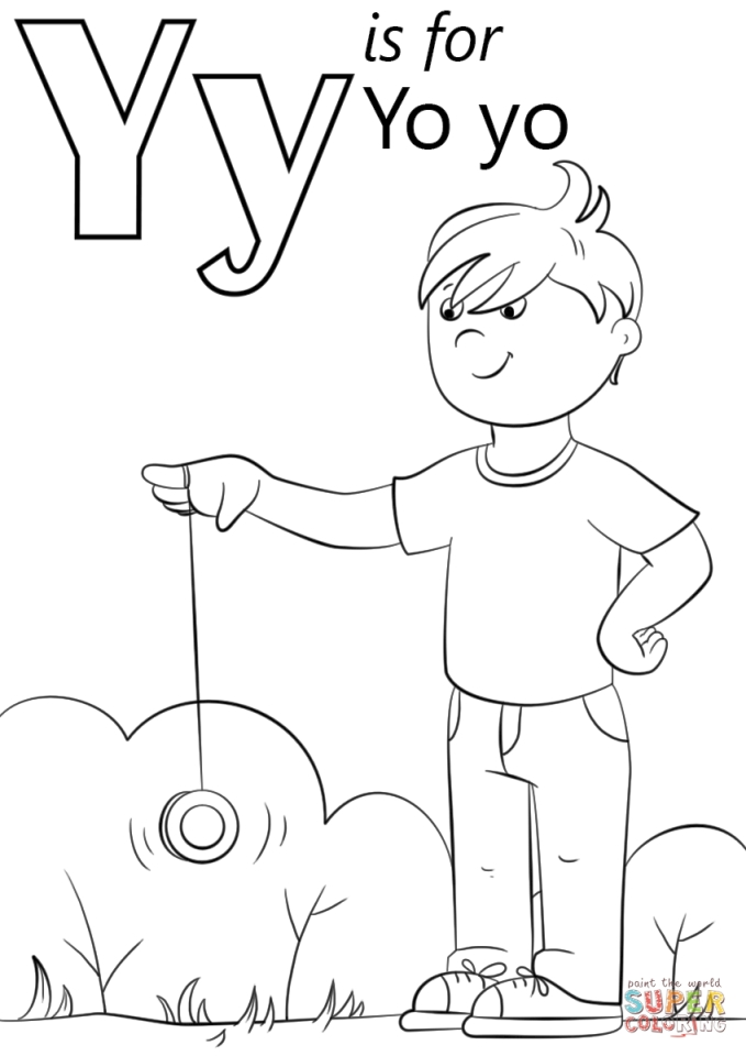 Letter Y Coloring Pages Yo Yo 3ab3l on Q Is For Queen Craft