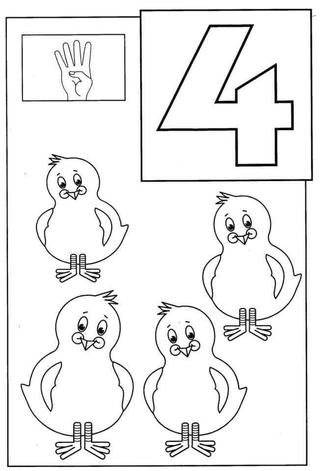 Number 4 Coloring Page - 4514a