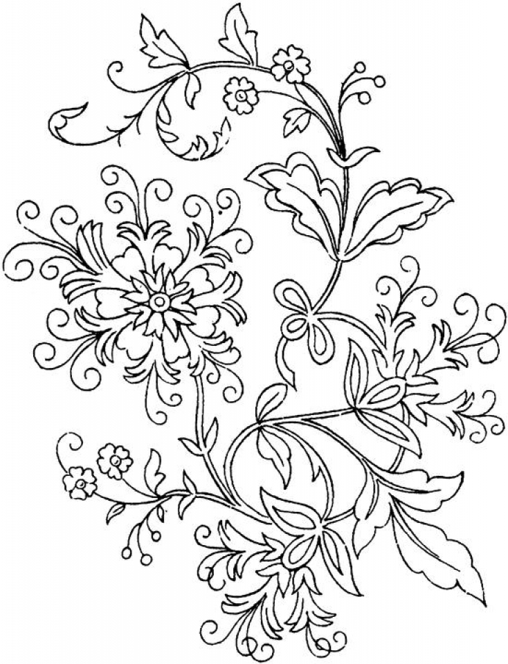 Abstract Flowers Coloring Pages for Adults   7cv50