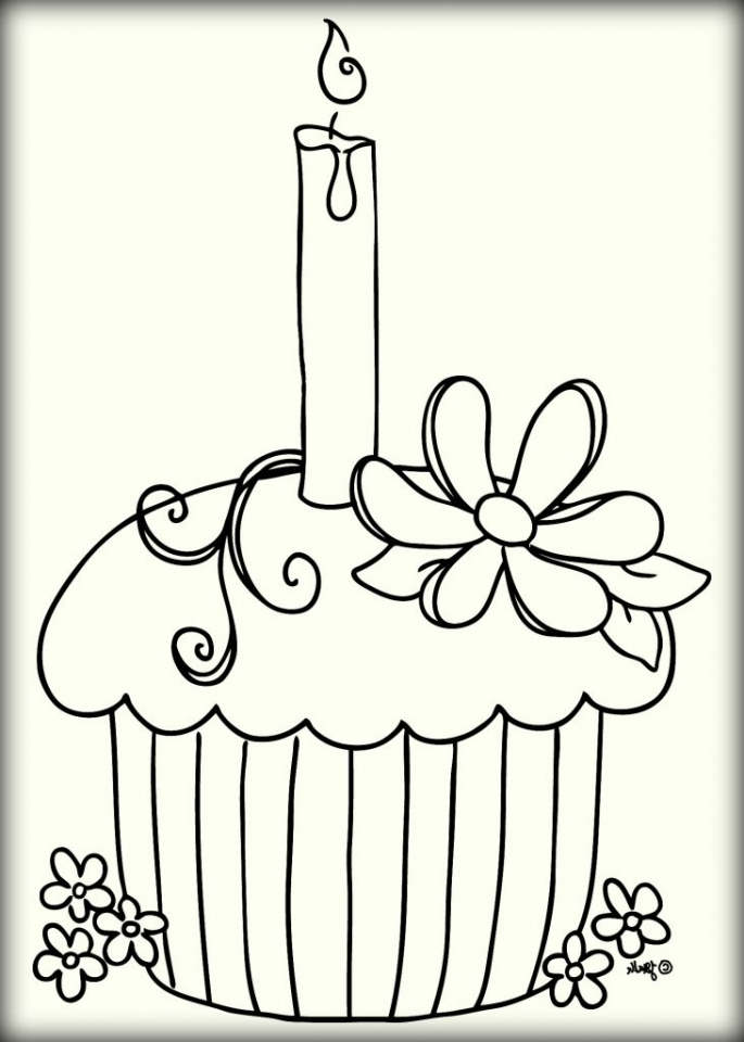Birthday Cupcake Coloring Pages   73121
