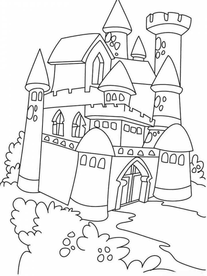 Castle Coloring Pages Free Printable   way2m