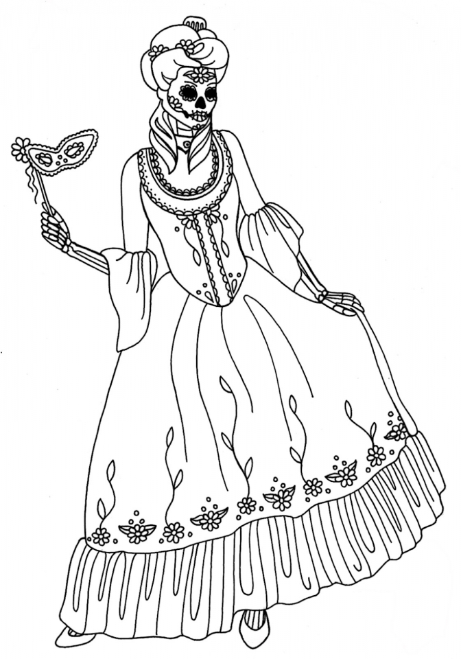 Day of the Dead Masks Coloring Pages   0vbt5