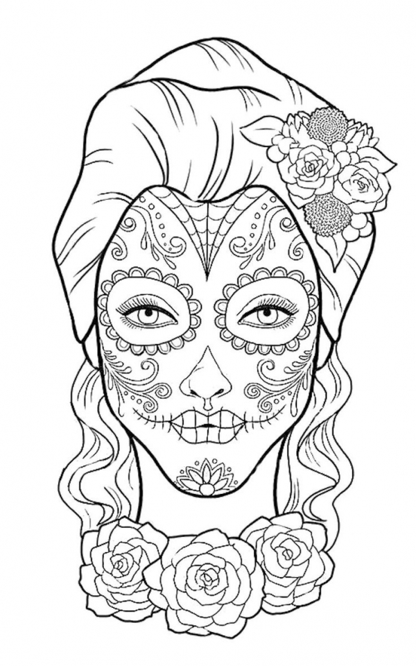 Day of the Dead Masks Coloring Pages   uxbe1