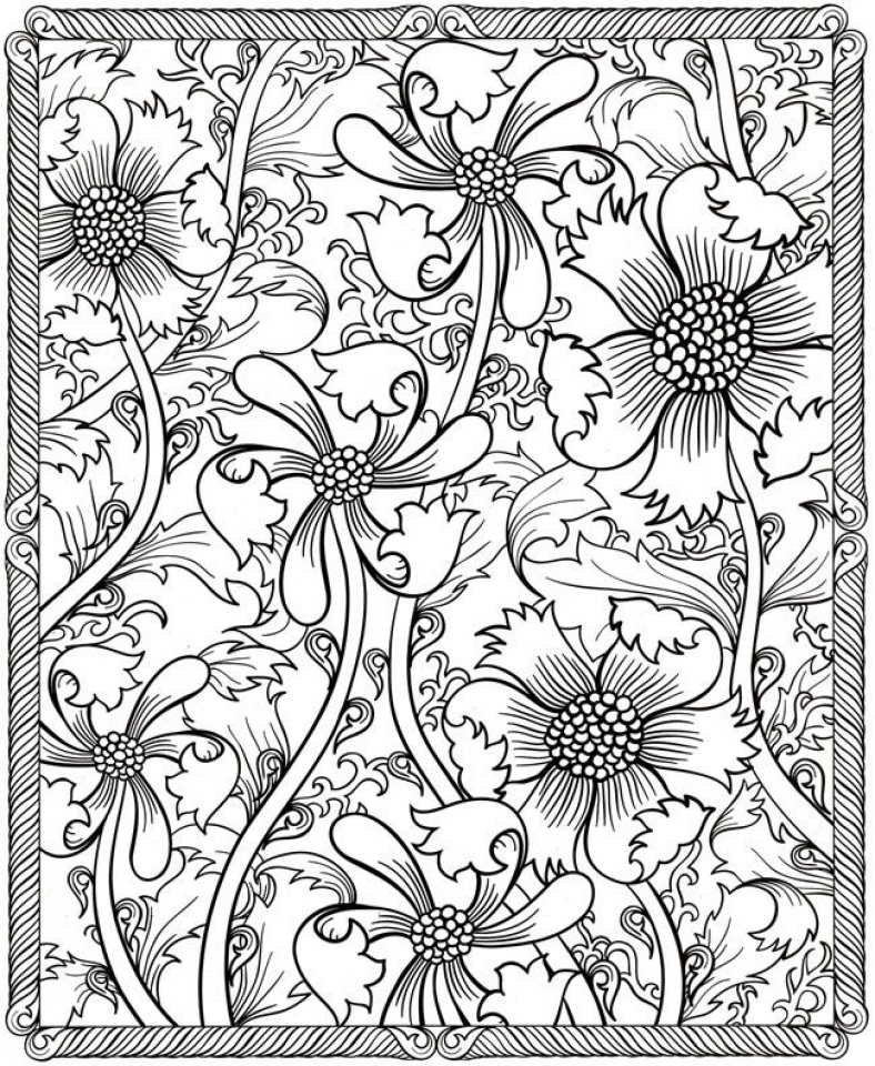 Flowers Coloring Pages for Adults Printable   6ad31