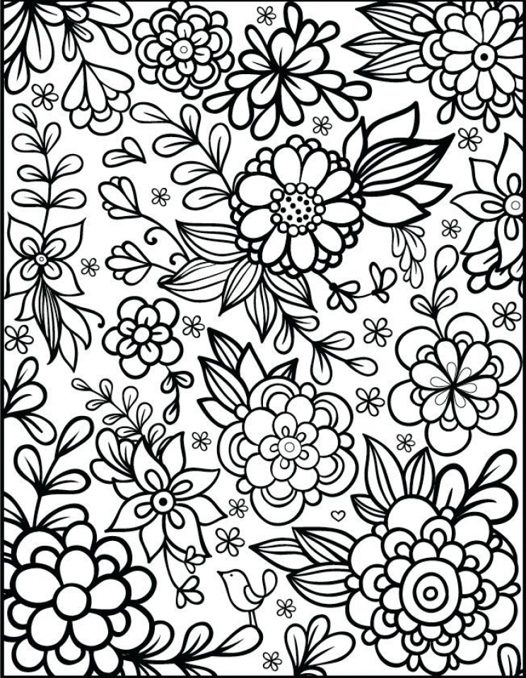 Get this flowers coloring pages for adults printable ar371 for Easy flower coloring pages