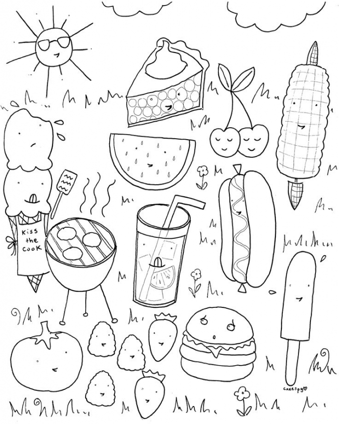 food coloring pages picnic food hj2b7 - Food Coloring Pages