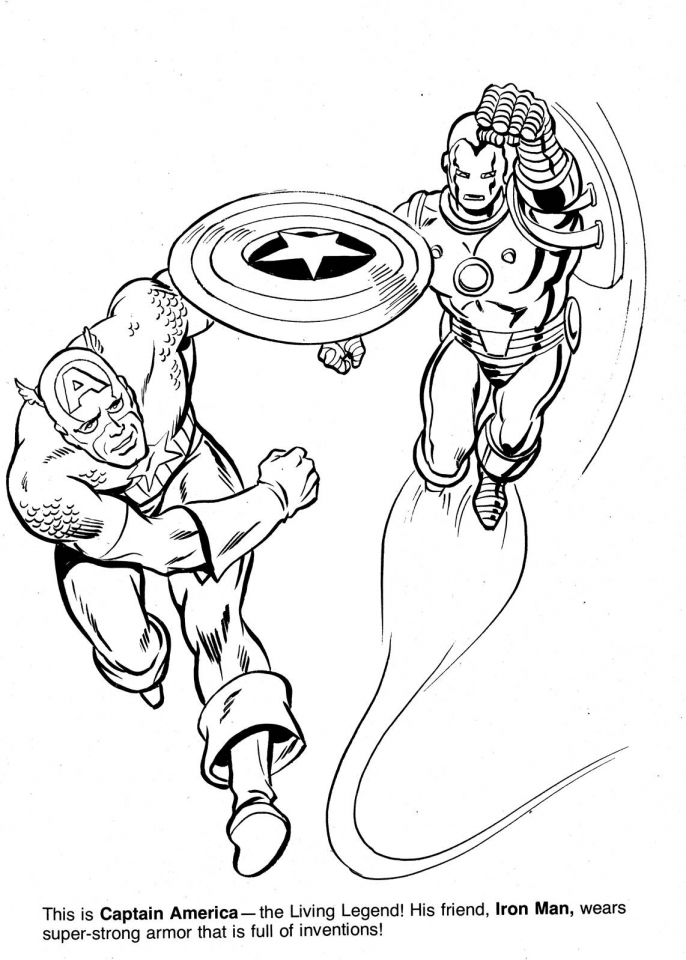 Marvel Coloring Pages Ironman and Captain America   yw2b5