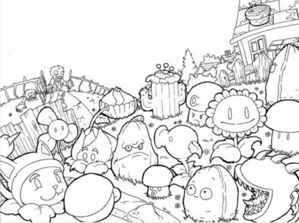 plants vs zombies coloring pages to print online y1648