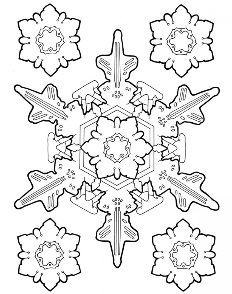 Snowflake Coloring Pages Elioleracom