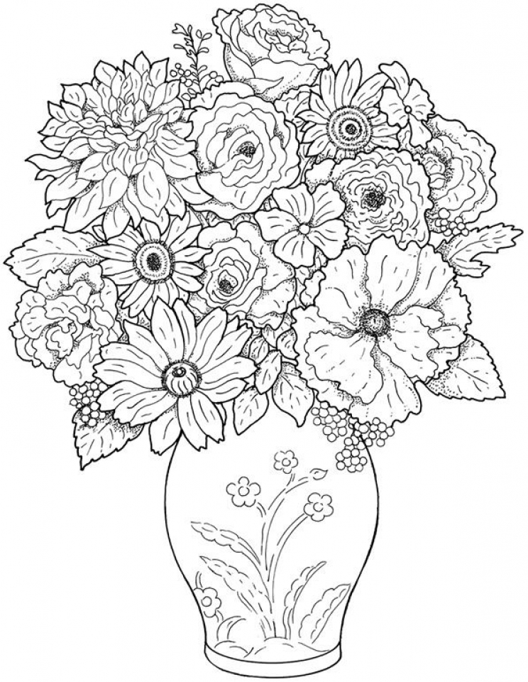 Realistic Flowers Coloring Pages for Adults 61729