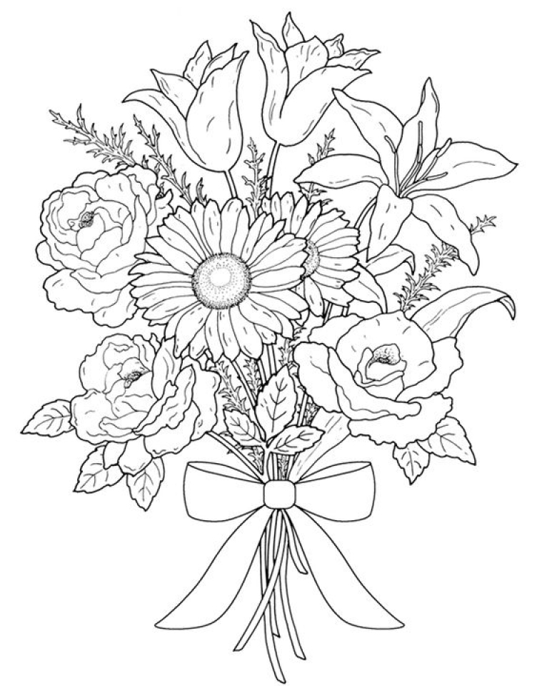 Get this realistic flowers coloring pages for adults 7dg40 Coloring books for young adults