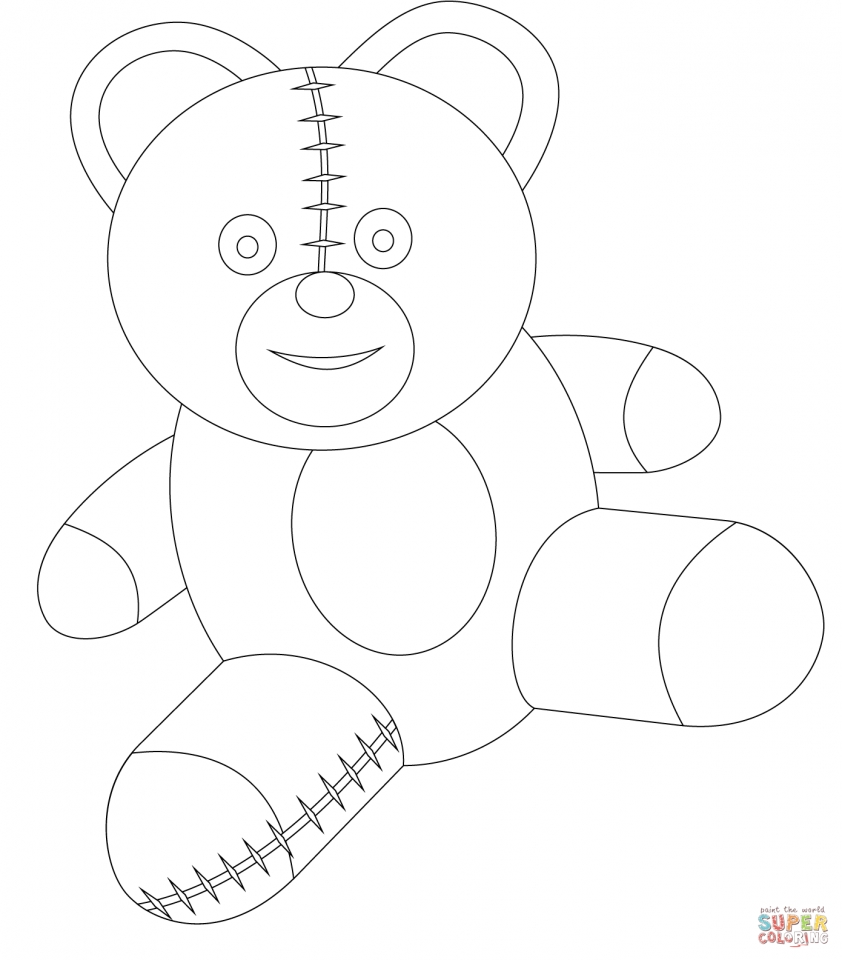 Teddy Bear Coloring Pages Kids Printable   t127a