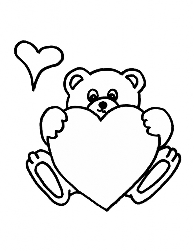 Get This teddy bear with heart coloring pages y1674