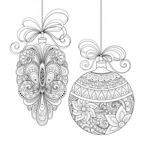 Adult Christmas Coloring Pages Free to Print Two Christmas Ornaments arc9