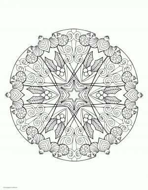 Adult Christmas Coloring Pages to Print Ornament Mandala tsc4