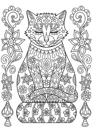 Adult Coloring Pages Animals Cat 1
