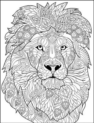 Adult Coloring Pages Animals Lion 2