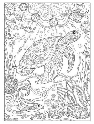 Adult Coloring Pages Animals Turtle 2